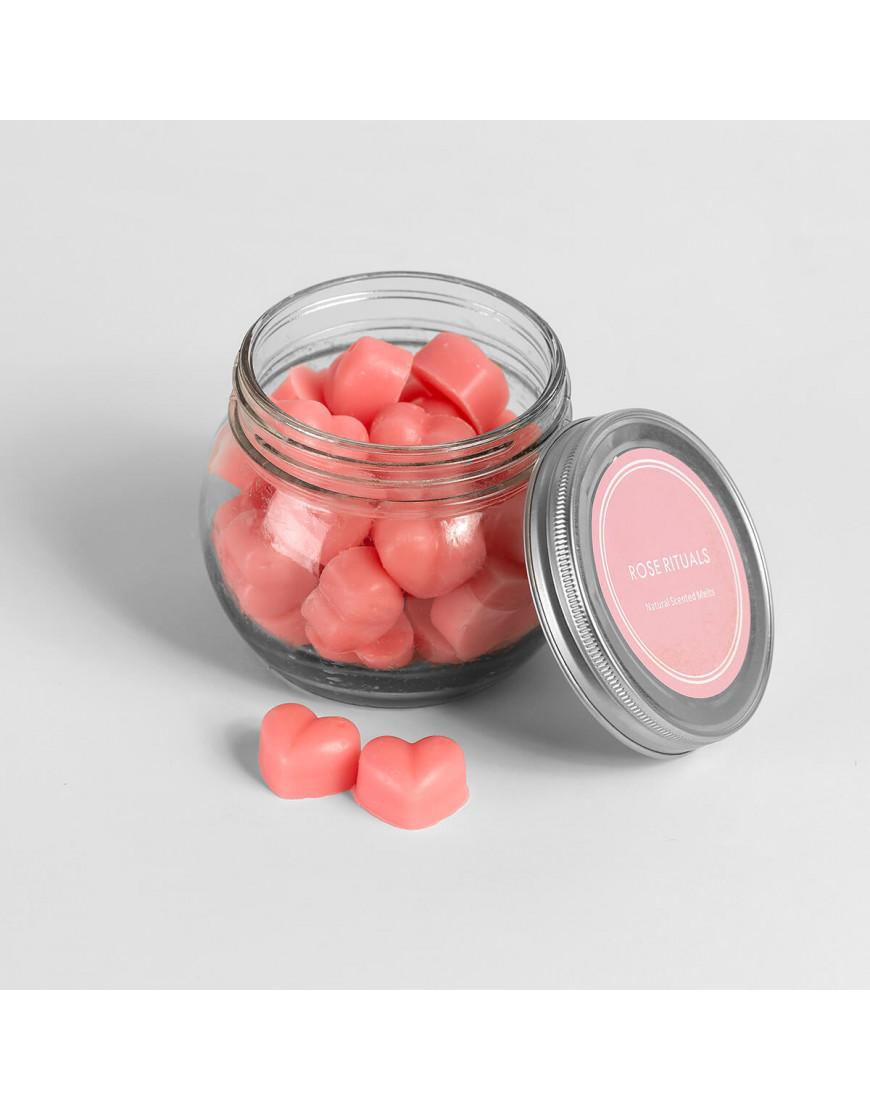 شمعة معطرة برائحة الورد الطبيعي بشكل قلوب في حامل زجاجي بغطاء