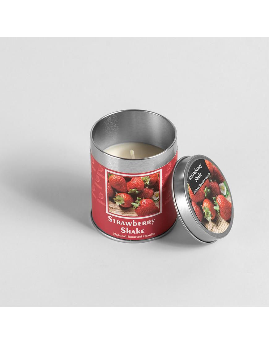 شمعة معطرة برائحة الفرولة في حامل معدني بغطاء