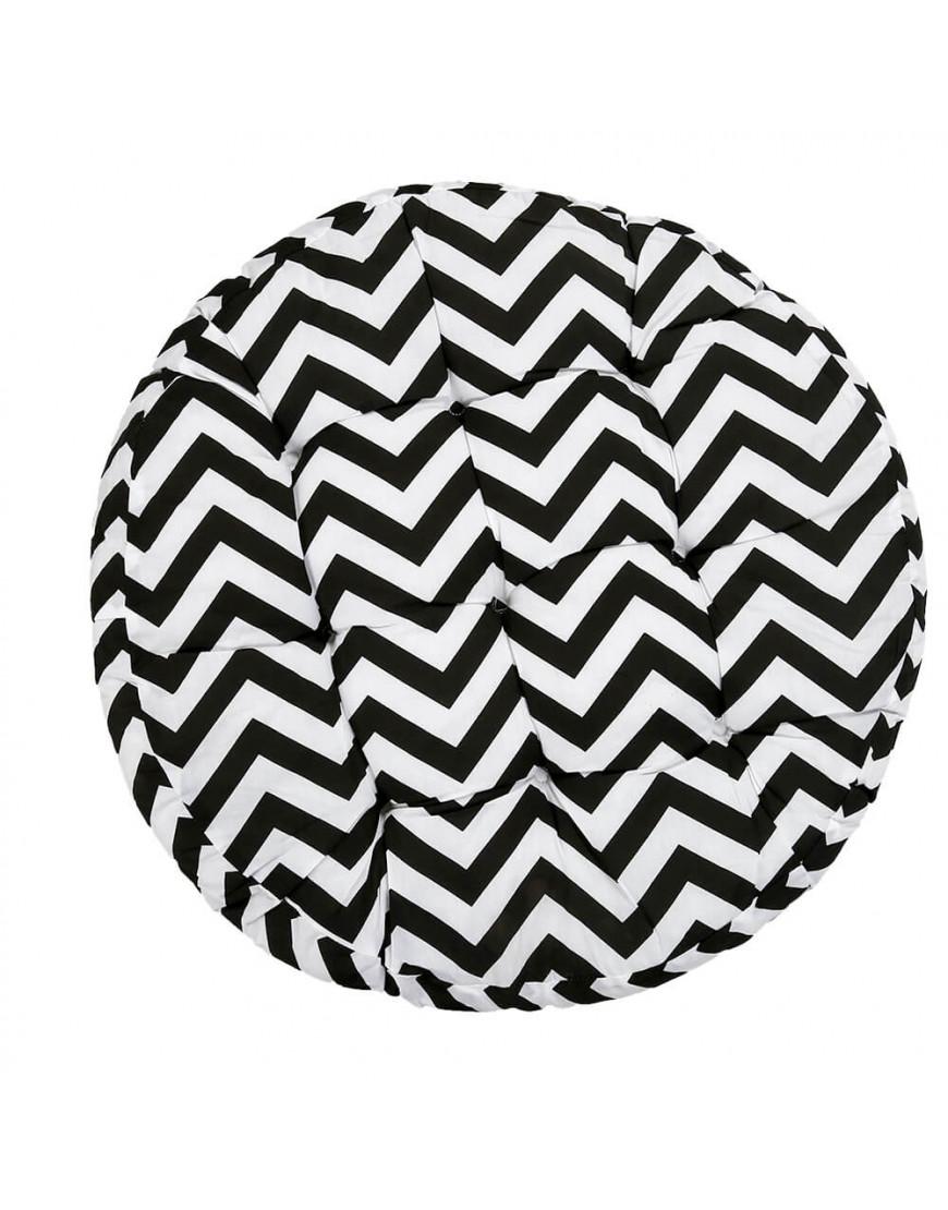 وسادة أرضية دائرية بخطوط متعرجة أسود