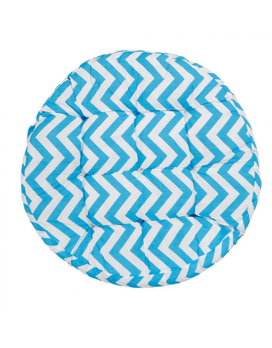 وسادة أرضية دائرية بخطوط متعرجة سماوي
