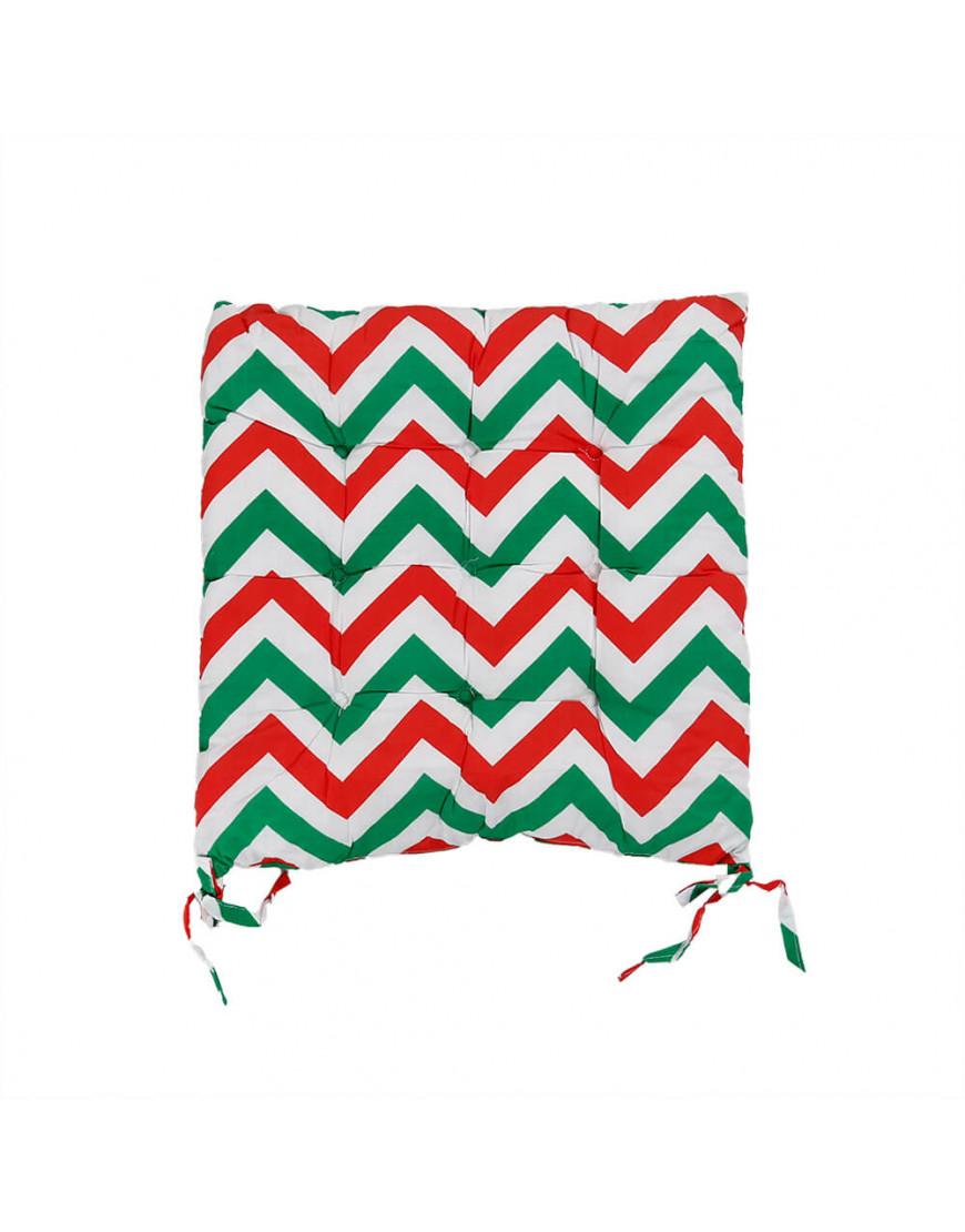 وسادة كرسي مربعة بخطوط متعرجة أخضر و أحمر 38 × 38 سم