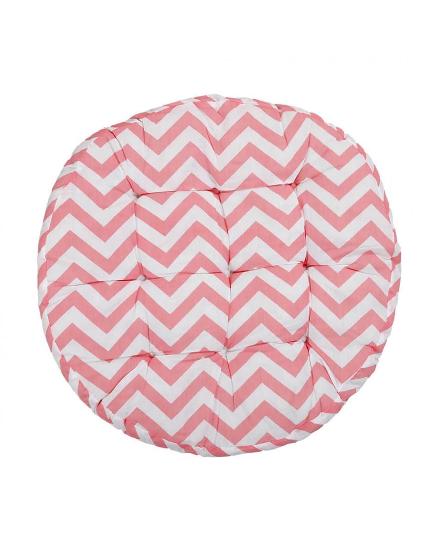 وسادة أرضية دائرية بخطوط متعرجة وردي