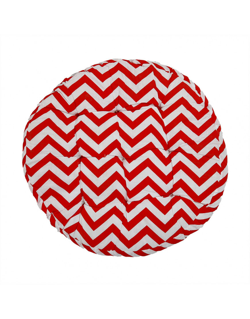 وسادة أرضية دائرية بخطوط متعرجة أحمر