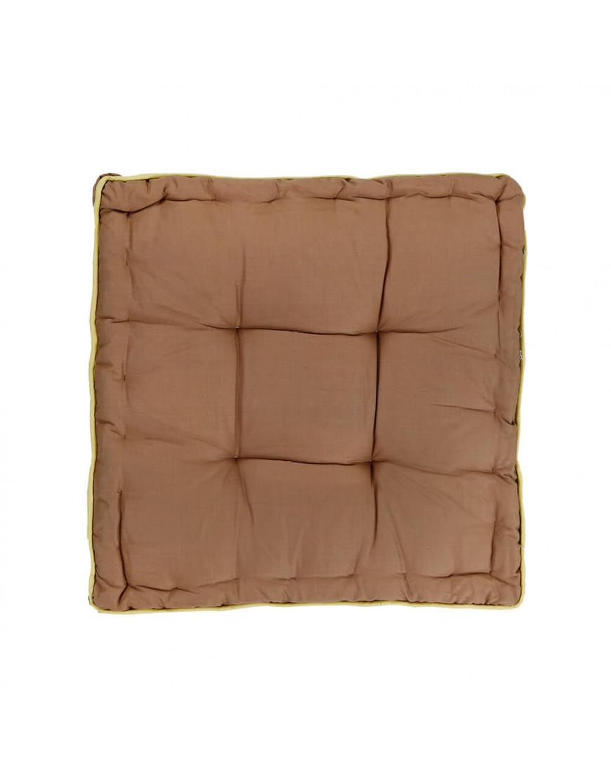 وسادة أرضية مربعة بني و أصفر  38 × 38 سم