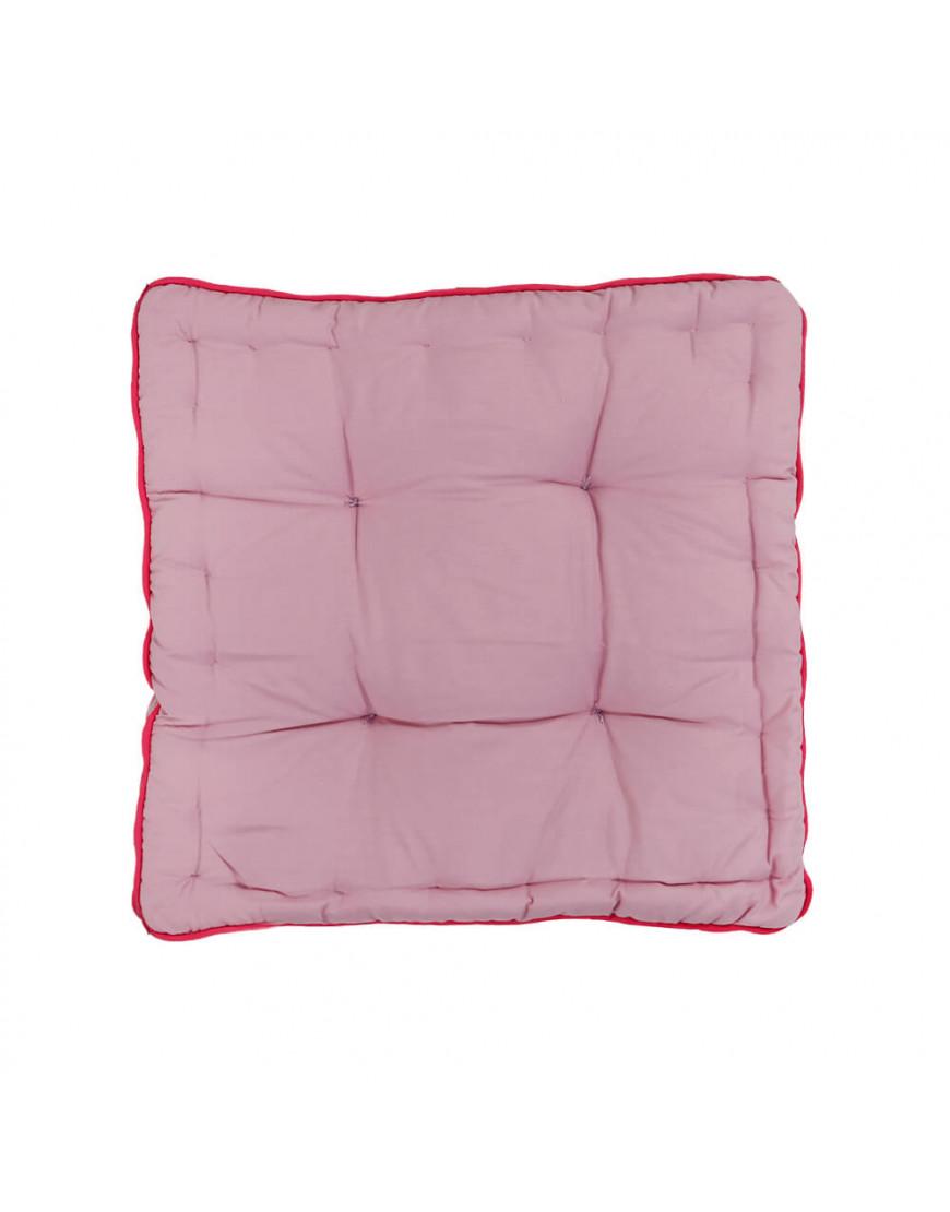 وسادة أرضية مربعة سادة وردي و فوشي 38 × 38 سم