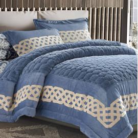 Kamelia Fur Winter Bedding Blue  Single 4-piece Set