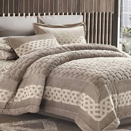 Kamelia Fur Winter Bedding Beige Single 4-piece Set
