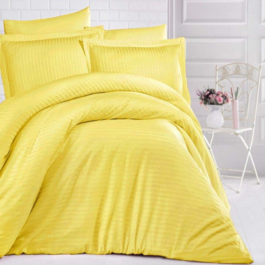 Hotel Stripe Bedding Cotton Single Yellow 5-piece Set