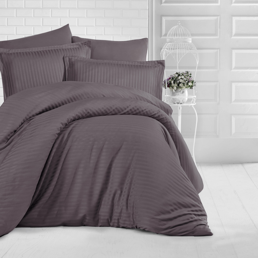 Hotel Stripe Bedding Cotton Single Brown 5-piece Set