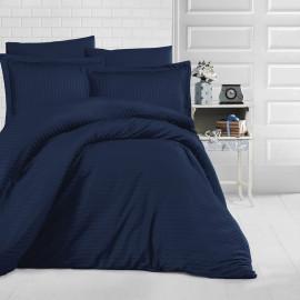 Hotel Stripe Bedding Cotton Double Dark Blue 9-piece Set