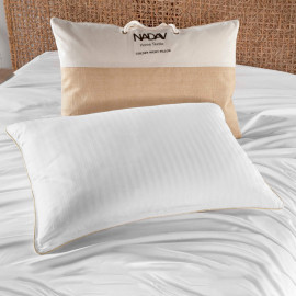 Golden Night Stripe Hotel Pillow Soft Support Feather Fill
