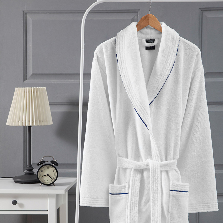 روب استحمام فندقي مخملي مفرد أبيض و أزرق