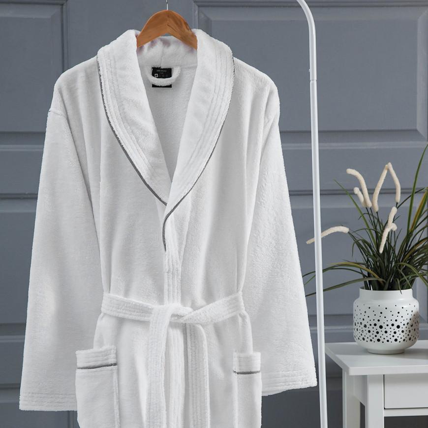 روب استحمام فندقي مخملي مفرد أبيض و رصاصي