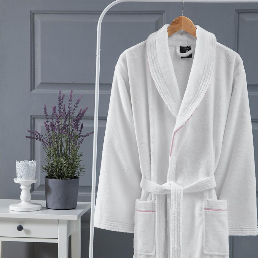 روب استحمام فندقي مخملي مفرد أبيض و وردي