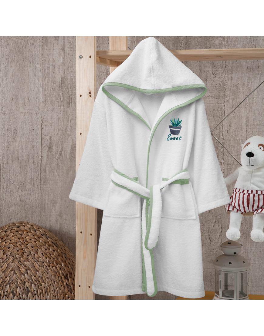 روب استحمام أطفال بحزام باللون الأبيض و الأخضر