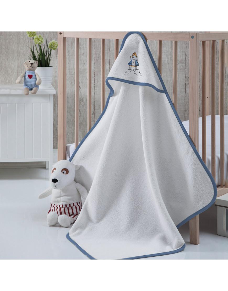 منشفة إستحمام أطفال بقبعة أبيض و أزرق 75×75 سم