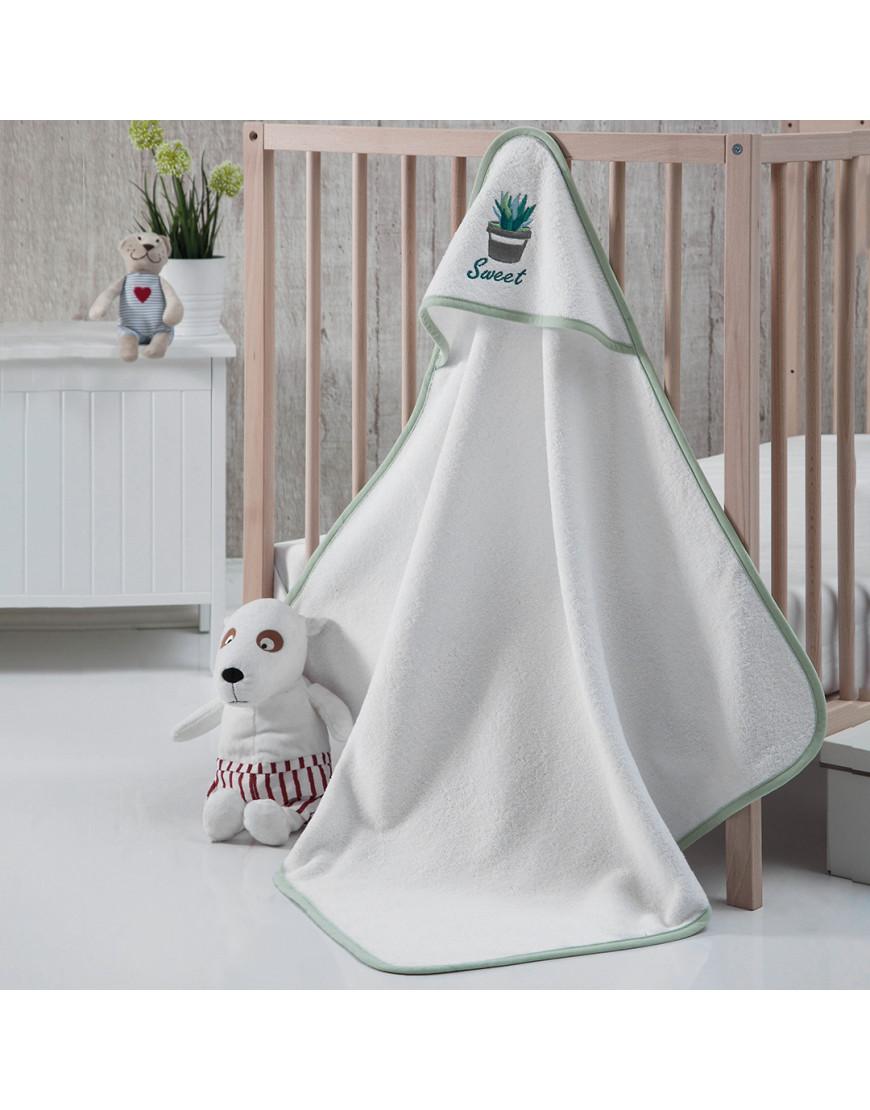 منشفة إستحمام أطفال بقبعة  أبيض و أخضر 75×75 سم
