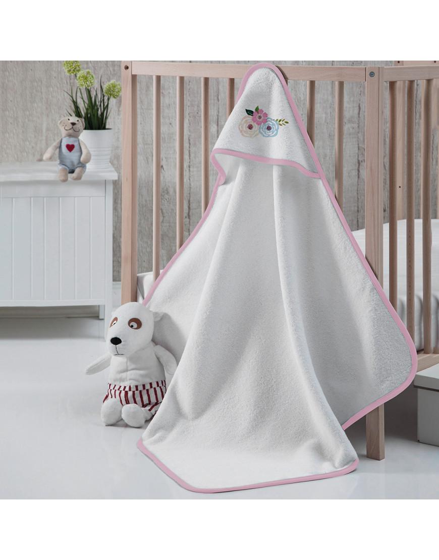 منشفة إستحمام أطفال بقبعة  أبيض و زهري 75×75 سم
