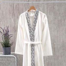 Classic Embroidered Bath Robe Single Cream