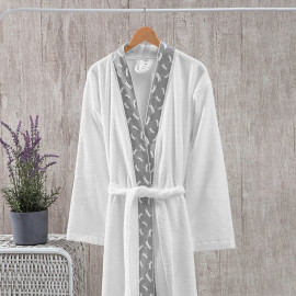 Classic Embroidered Bath Robe Single White