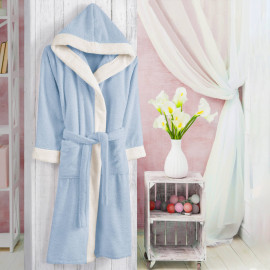 Hooded Kids Bath Robe Cotton Light Blue And Off-white