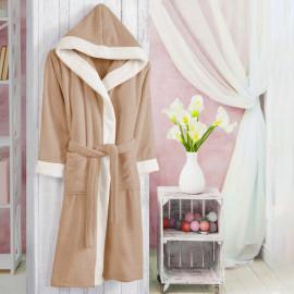 Hooded Kids Bath Robe Cotton Dark Beige And Off-white