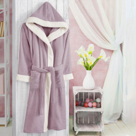 Hooded Kids Bath Robe Cotton Lilac And Off-white