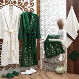 Lorin Embroidered Bathrobe and Slippers Cream and Green 14-Piece Set