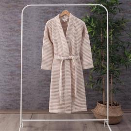 Waffel Pattern Cotton Bath Robe Beige
