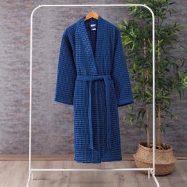 Waffel Pattern Cotton Bath Robe Dark Blue