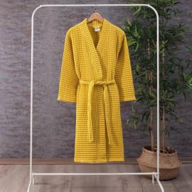 Waffel Pattern Cotton Bath Robe Yellow