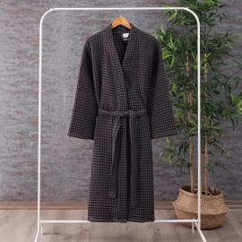 Waffel Pattern Cotton Bath Robe Dark Grey