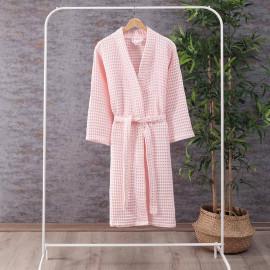 Waffel Pattern Cotton Bath Robe Pink
