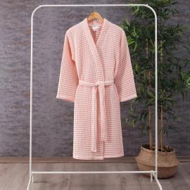 Waffel Pattern Cotton Bath Robe Light Pink