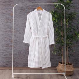 Waffel Pattern Cotton Bath Robe White