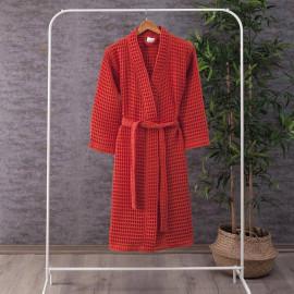 Waffel Pattern Cotton Bath Robe Red