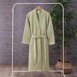 Waffel Pattern Cotton Bath Robe Light Green
