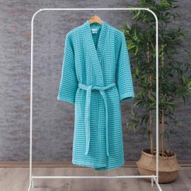 Waffel Pattern Cotton Bath Robe Turquoise