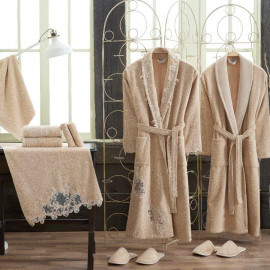 Nancy Embroidered Bathrobe and Slippers Beige And Biege 14-Piece Set