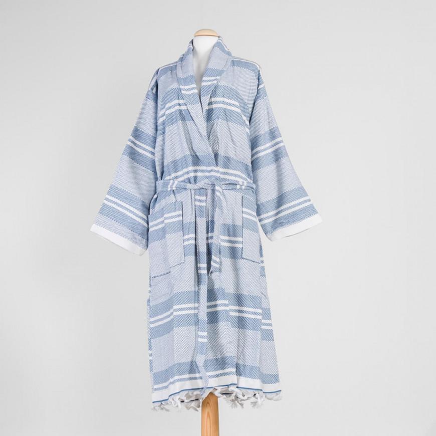 Striped Bath Robe Blue Single