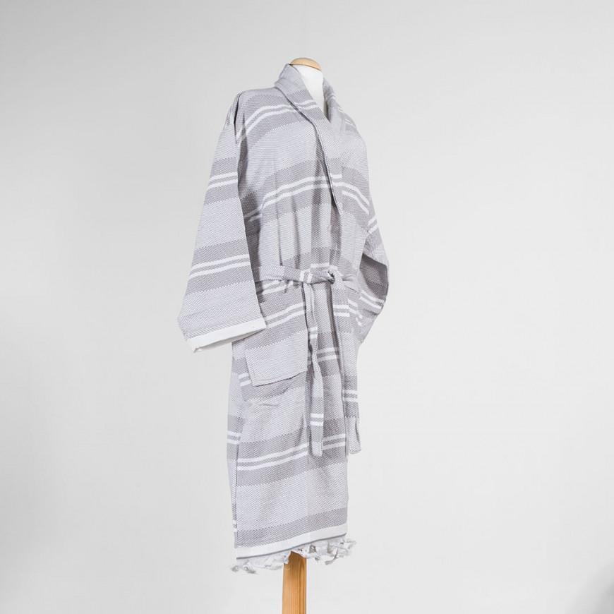 Striped Bath Robe Grey Single