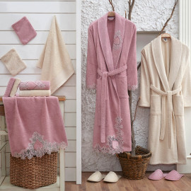 Taca Embroidered Bathrobe and Slippers Off-white And Pink 14-Piece Set