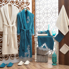 Taca Embroidered Bathrobe and Slippers Off-white And Turquoise 14-Piece Set