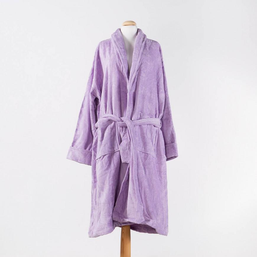 Solid-Coloured Bath Robe Single Mauve