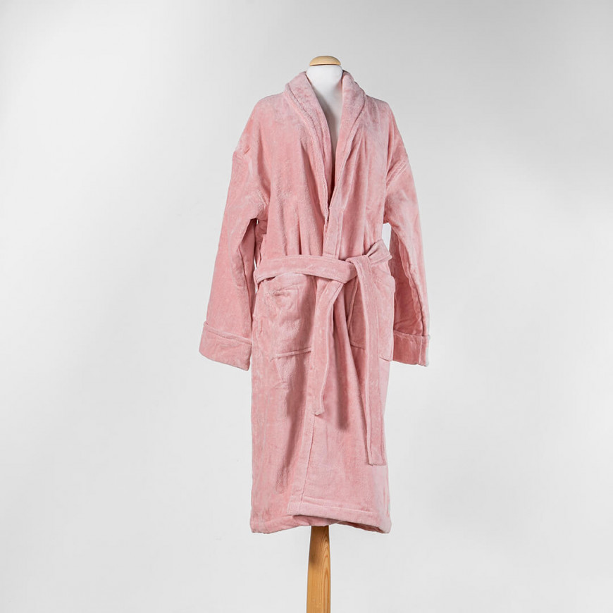 Solid-Coloured Bath Robe Single Pink