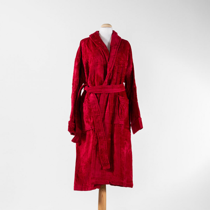 Solid-Coloured Bath Robe Single Burgundy