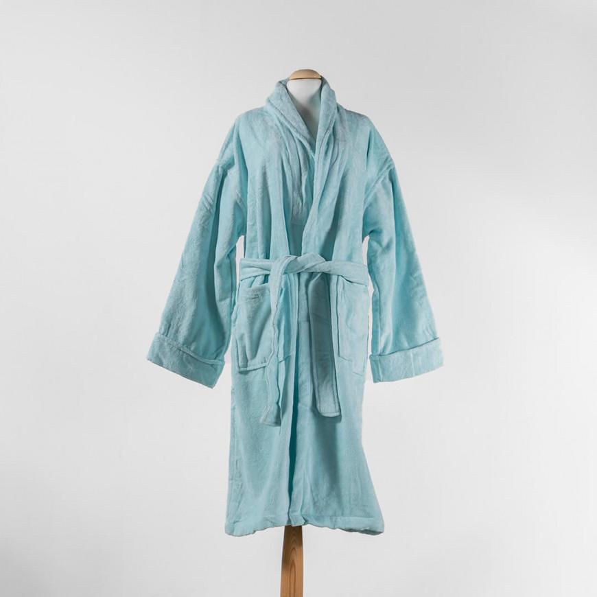 Solid-Coloured Bath Robe Single Light Blue
