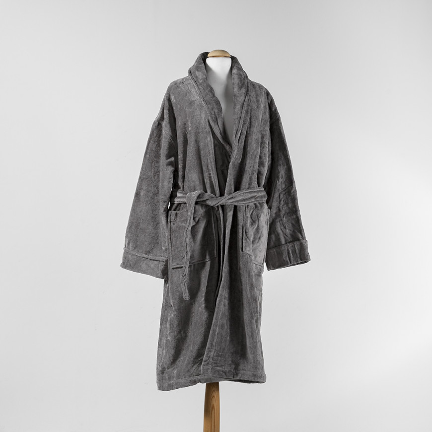 Solid-Coloured Bath Robe Single Dark Grey