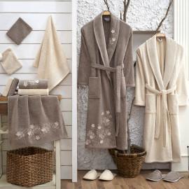 Zara Embroidered Bathrobe and Slippers Off-white And Dark Beige 14-Piece Set