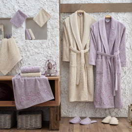 Zara Embroidered Bathrobe and Slippers Off-white And Mauve 14-Piece Set